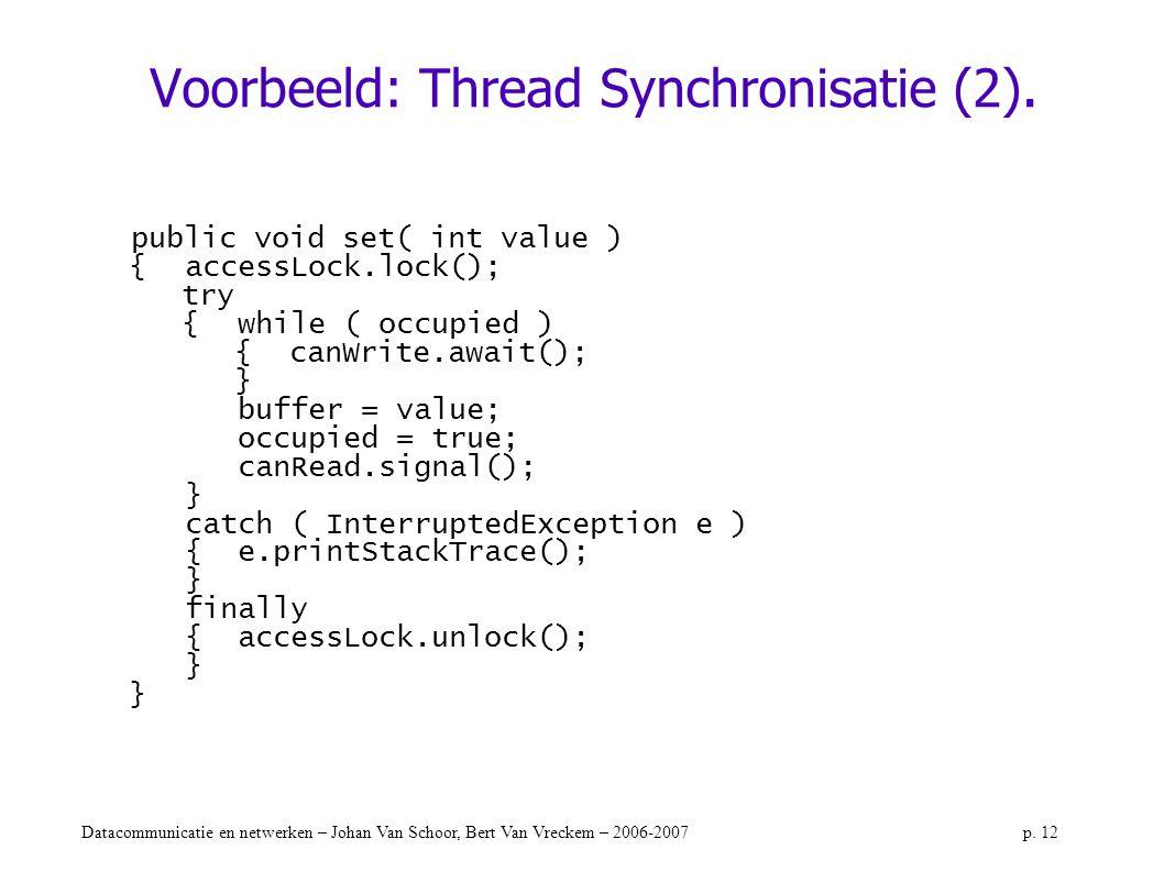 Voorbeeld: Thread Synchronisatie (2).