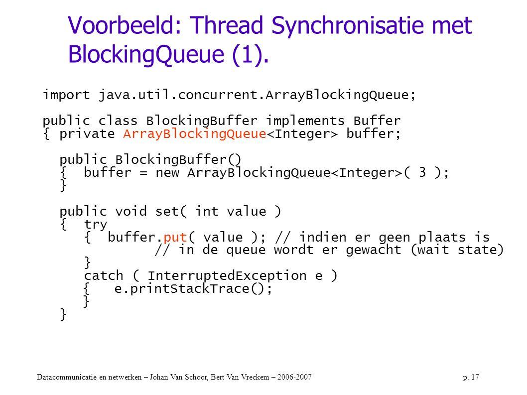 Voorbeeld: Thread Synchronisatie met BlockingQueue (1).