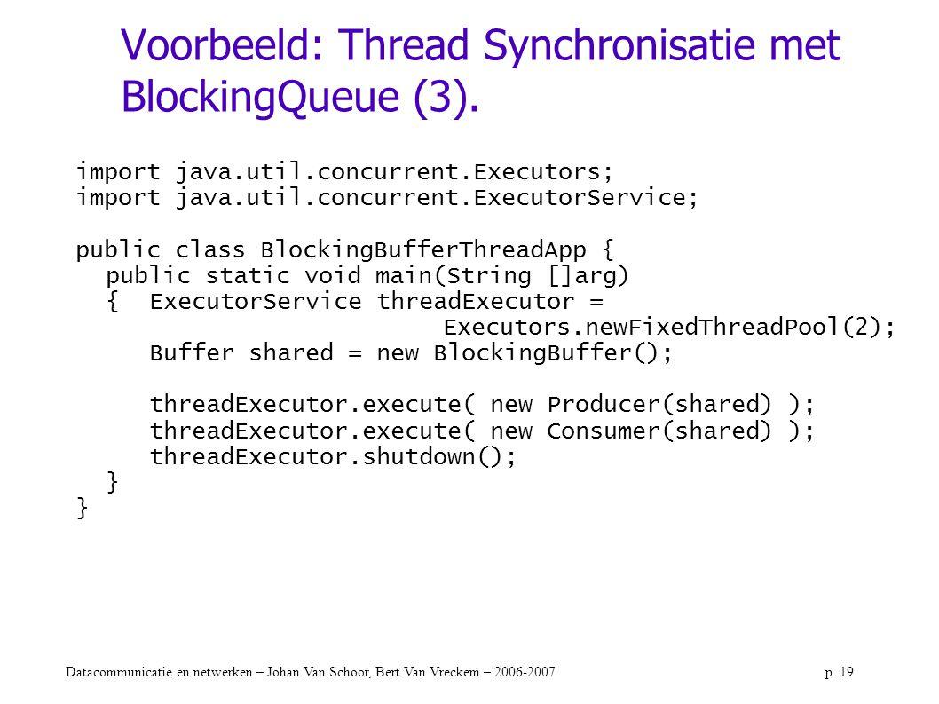 Voorbeeld: Thread Synchronisatie met BlockingQueue (3).