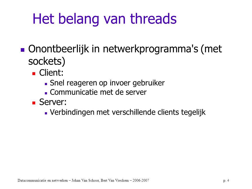 Het belang van threads Onontbeerlijk in netwerkprogramma s (met sockets) Client: Snel reageren op invoer gebruiker.