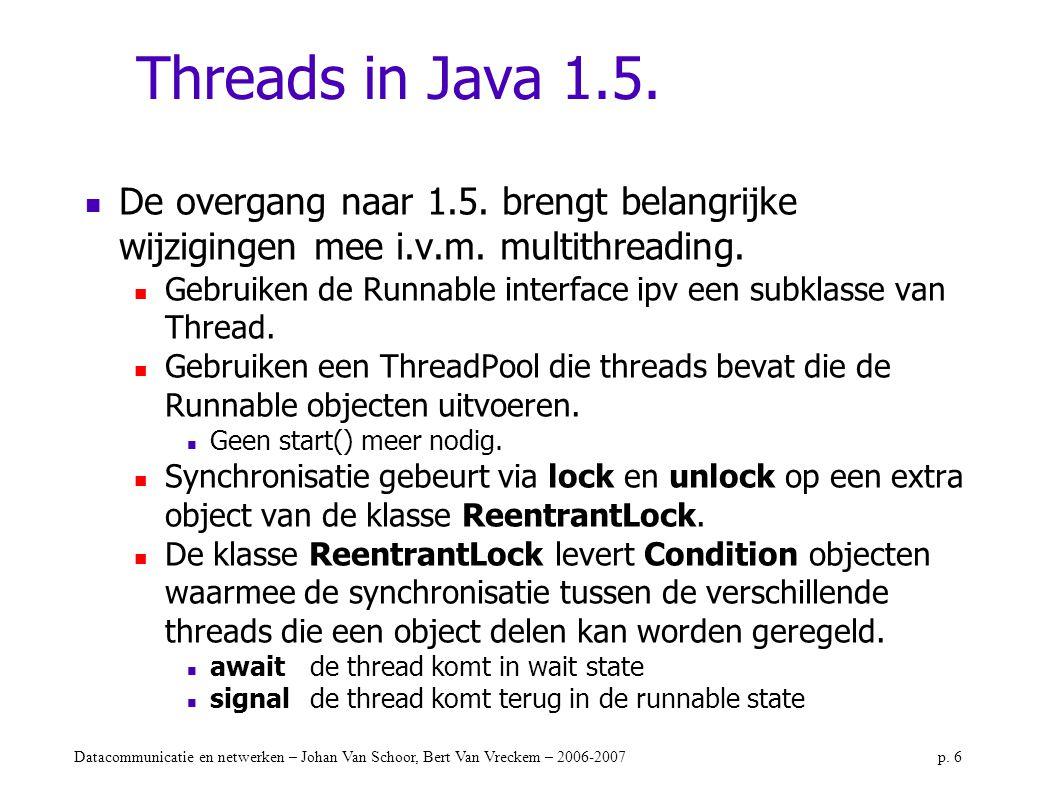 Threads in Java 1.5. De overgang naar 1.5. brengt belangrijke wijzigingen mee i.v.m. multithreading.
