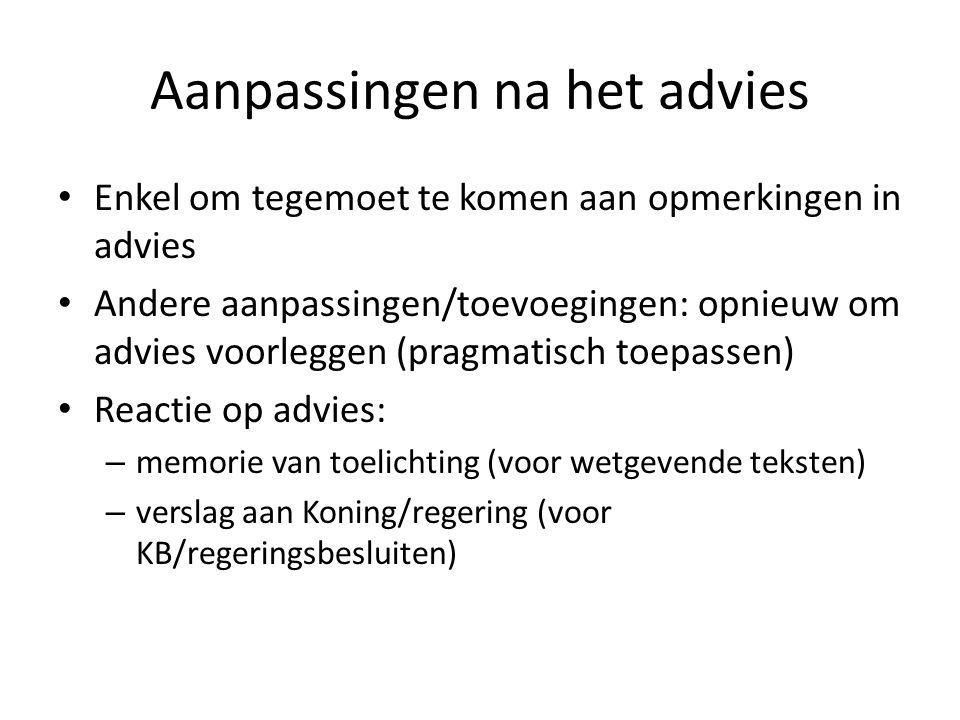 Aanpassingen na het advies