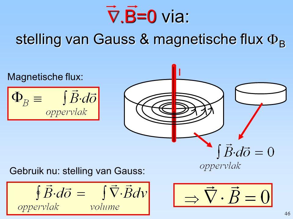 B=0 via: stelling van Gauss & magnetische flux B