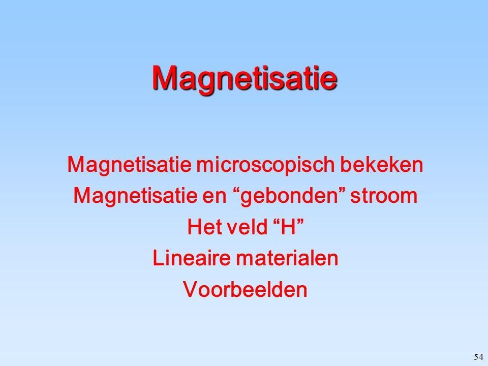 Magnetisatie microscopisch bekeken Magnetisatie en gebonden stroom