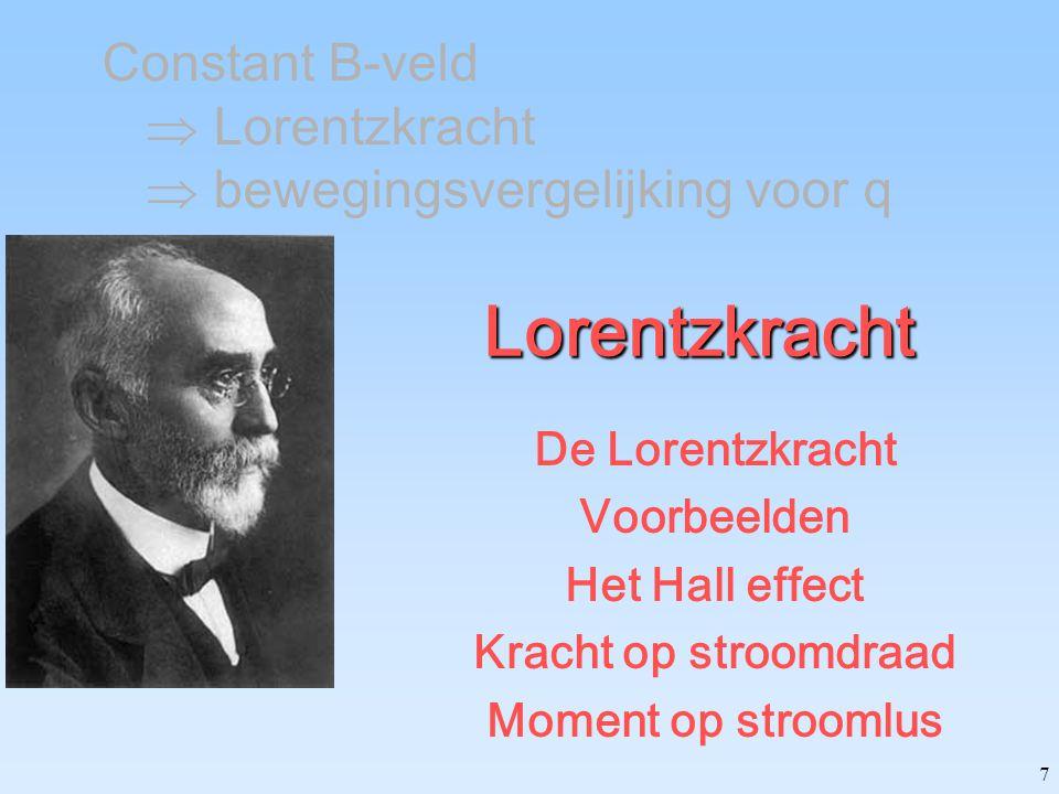 Constant B-veld  Lorentzkracht  bewegingsvergelijking voor q