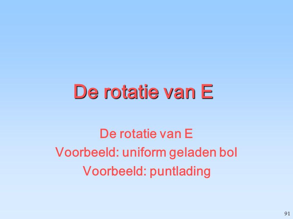 De rotatie van E Voorbeeld: uniform geladen bol Voorbeeld: puntlading