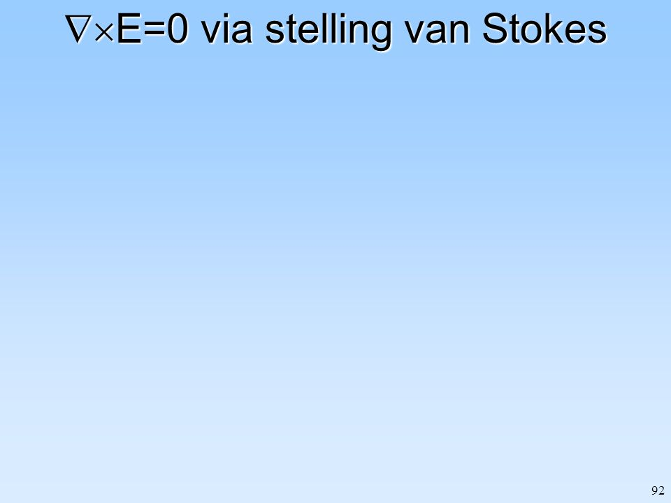 E=0 via stelling van Stokes