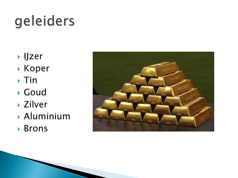 geleiders IJzer Koper Tin Goud Zilver Aluminium Brons