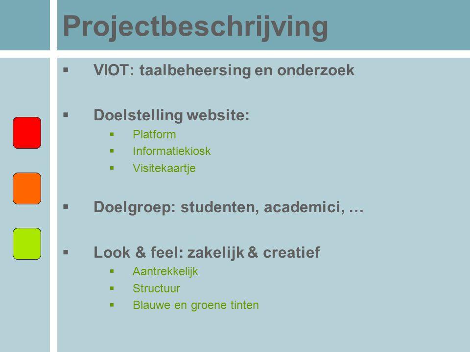 Projectbeschrijving VIOT: taalbeheersing en onderzoek