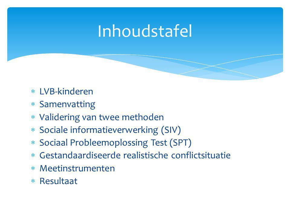 Inhoudstafel LVB-kinderen Samenvatting Validering van twee methoden