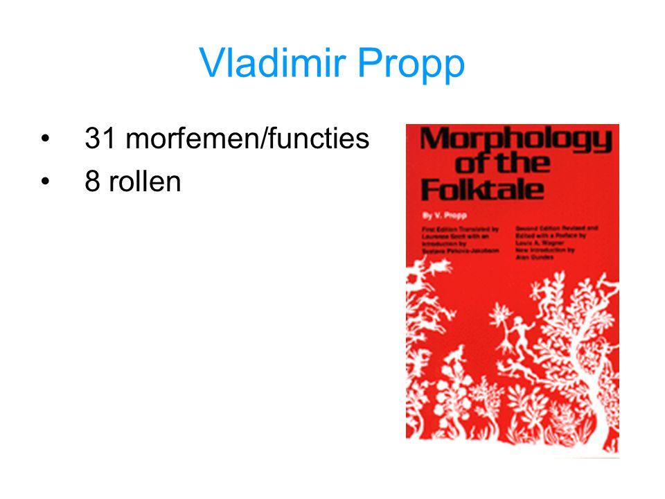 Vladimir Propp 31 morfemen/functies 8 rollen