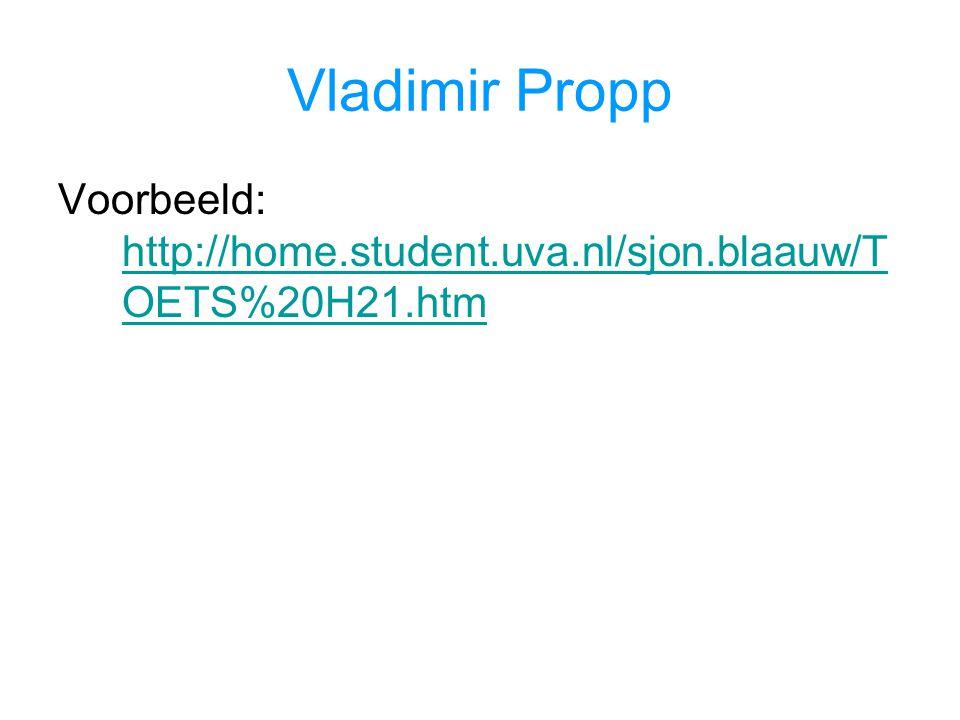 Vladimir Propp Voorbeeld: http://home.student.uva.nl/sjon.blaauw/TOETS%20H21.htm