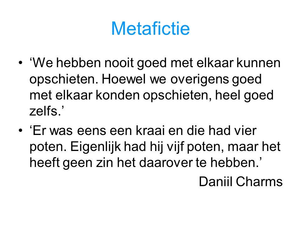 Metafictie 'We hebben nooit goed met elkaar kunnen opschieten. Hoewel we overigens goed met elkaar konden opschieten, heel goed zelfs.'