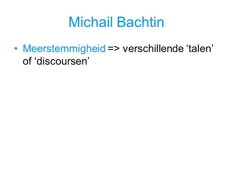 Michail Bachtin Meerstemmigheid => verschillende 'talen' of 'discoursen'