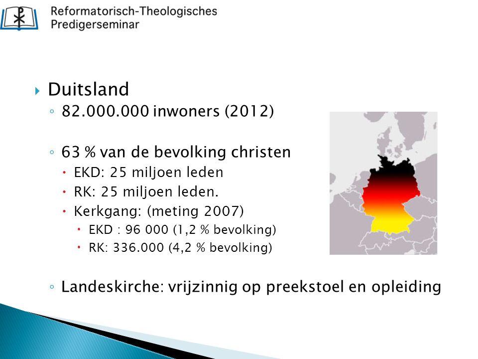 Duitsland 82.000.000 inwoners (2012) 63 % van de bevolking christen