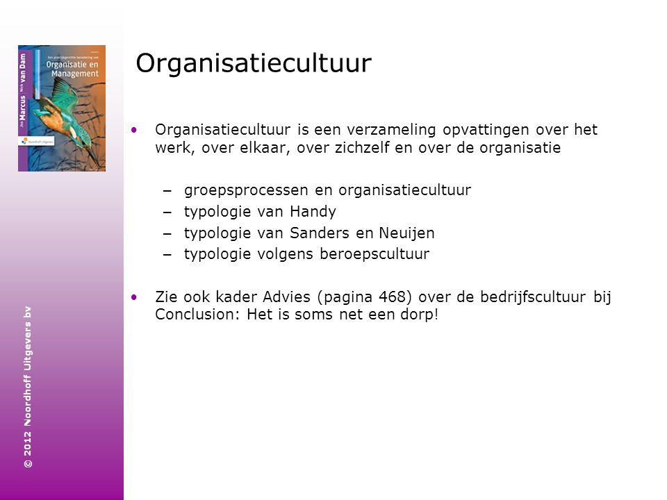 Organisatiecultuur Organisatiecultuur is een verzameling opvattingen over het werk, over elkaar, over zichzelf en over de organisatie.