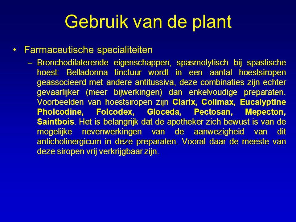 Gebruik van de plant Farmaceutische specialiteiten