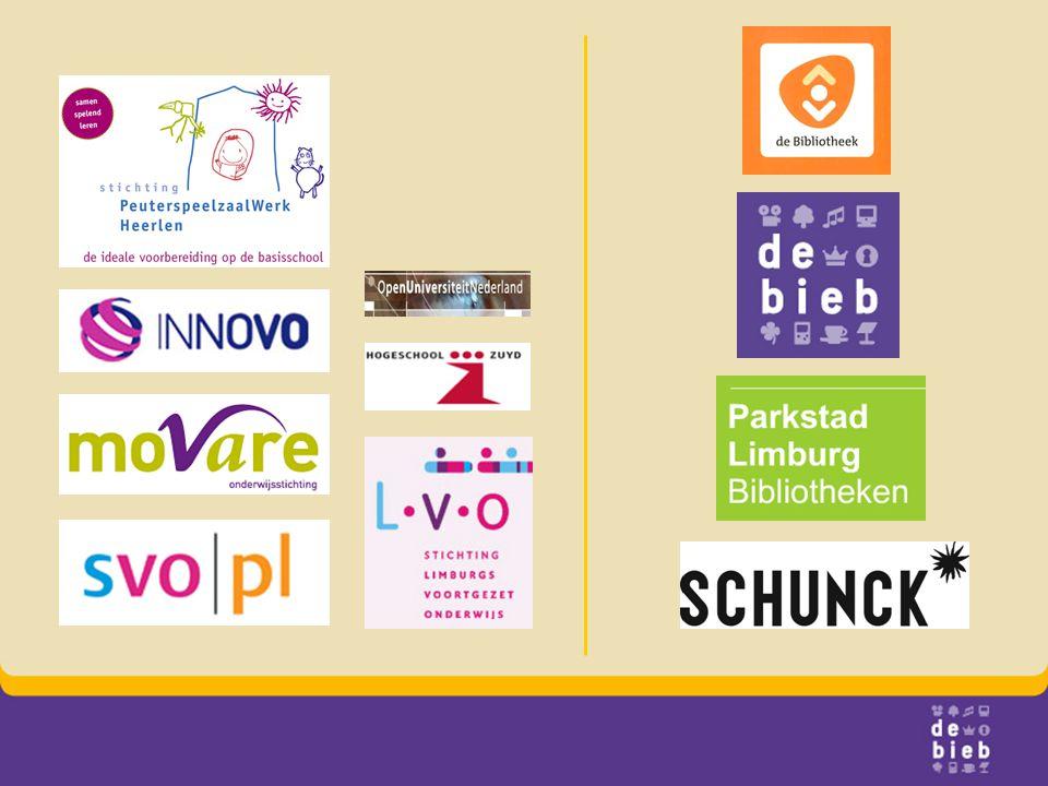 Logo: landelijke logo, VLB vd bieb, PLB, SCHUNCK, scholen vorige slide,