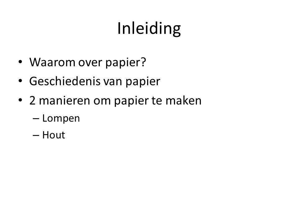 Inleiding Waarom over papier Geschiedenis van papier