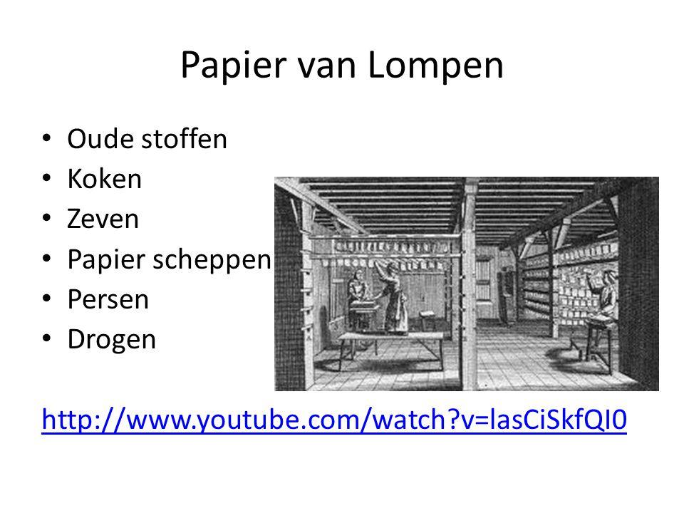 Papier van Lompen Oude stoffen Koken Zeven Papier scheppen Persen