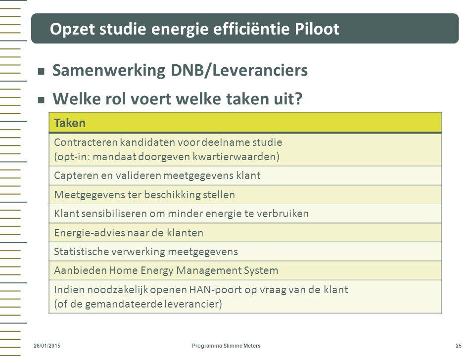 Opzet studie energie efficiëntie Piloot