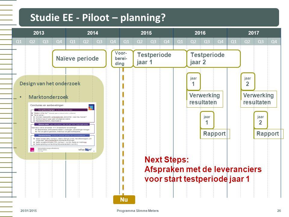 Studie EE - Piloot – planning