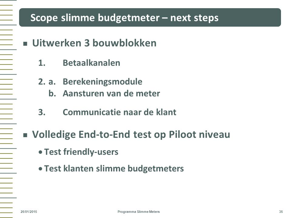 Scope slimme budgetmeter – next steps