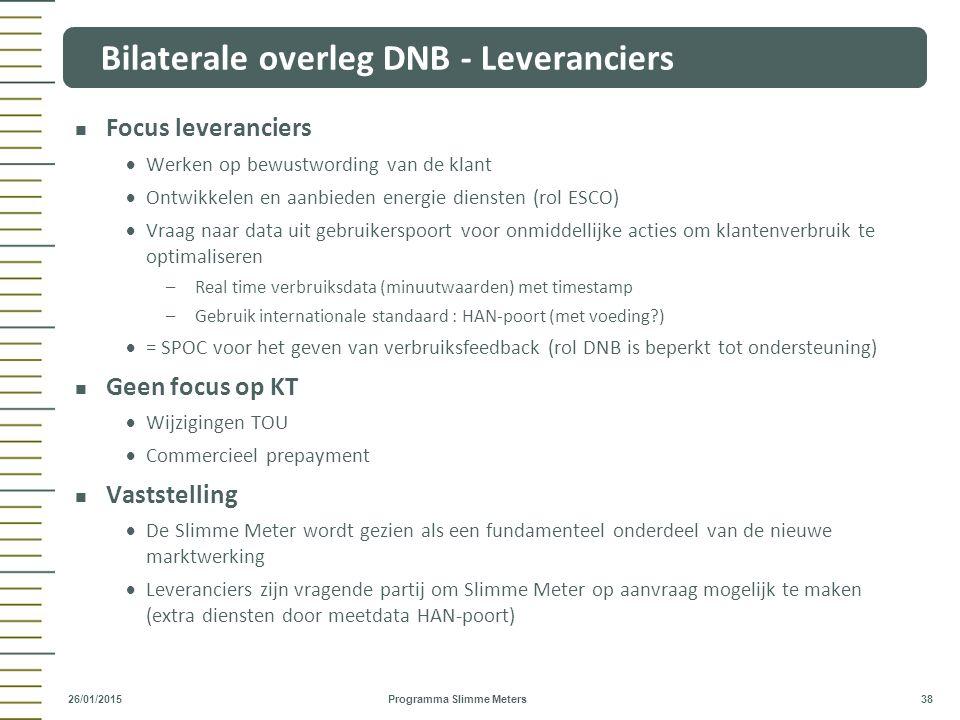 Bilaterale overleg DNB - Leveranciers