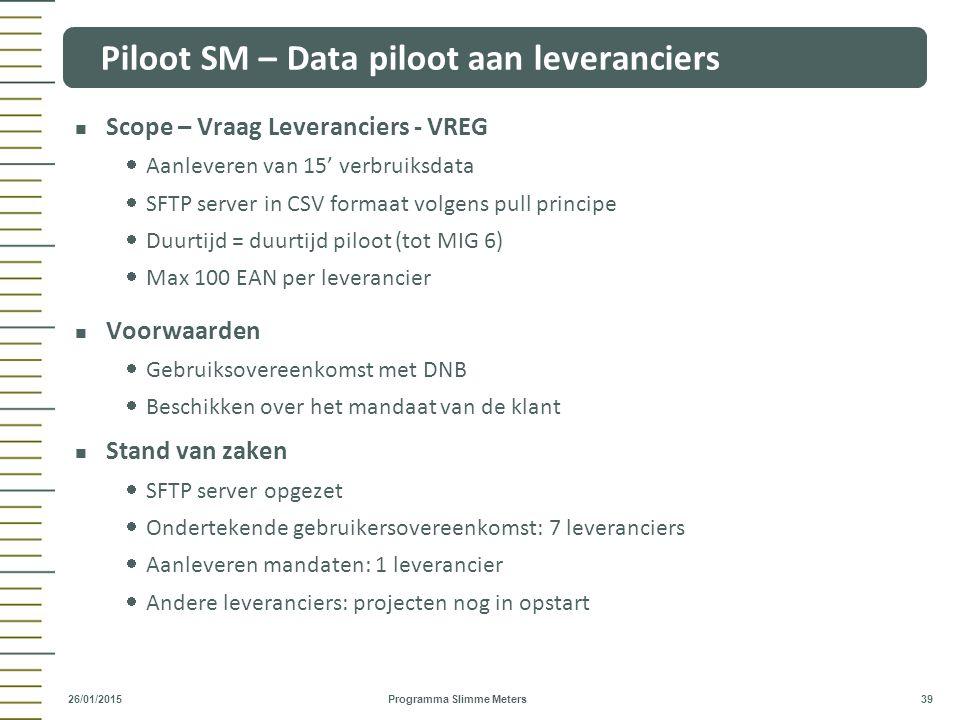 Piloot SM – Data piloot aan leveranciers