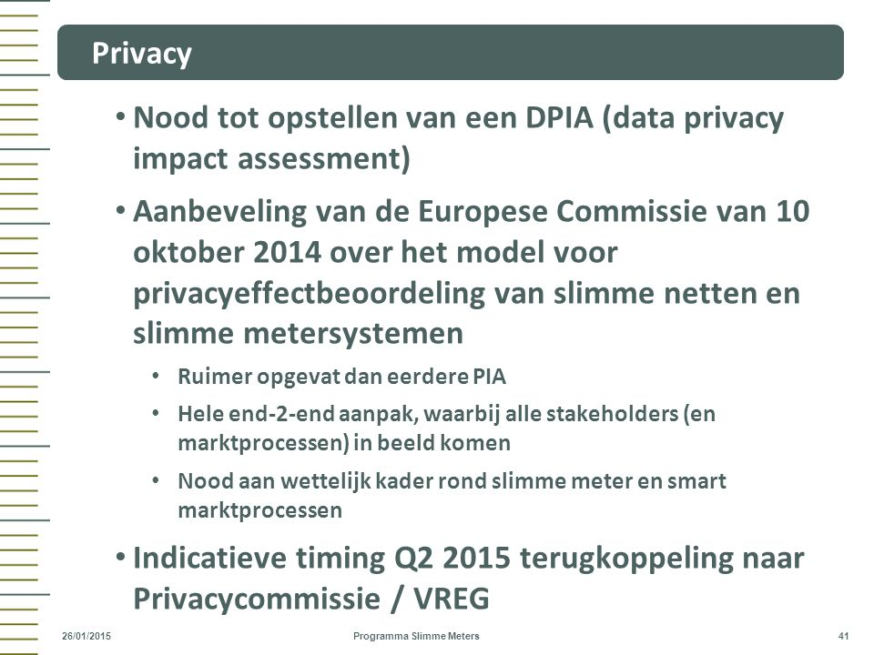 Nood tot opstellen van een DPIA (data privacy impact assessment)