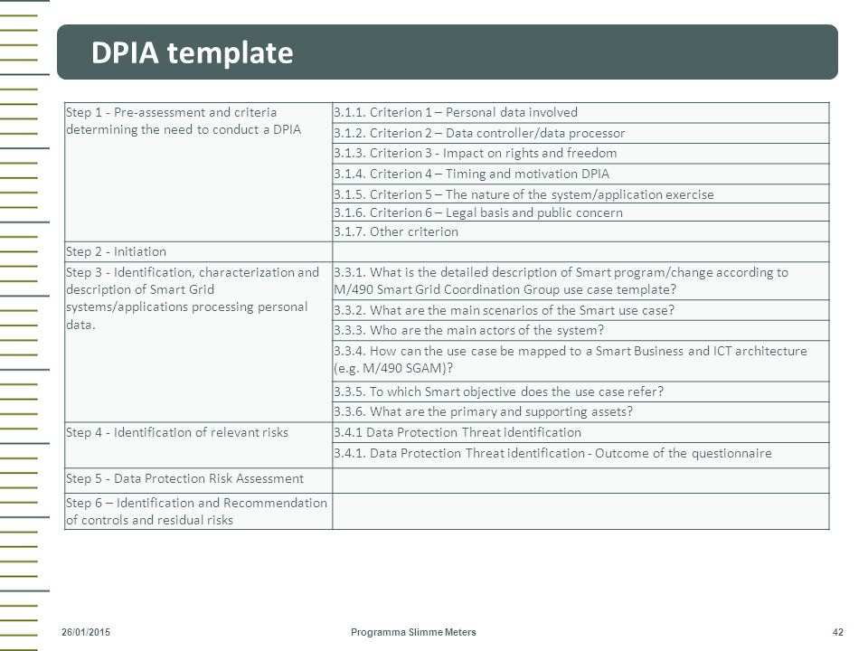 DPIA template Step 1 - Pre-assessment and criteria determining the need to conduct a DPIA. 3.1.1. Criterion 1 – Personal data involved.
