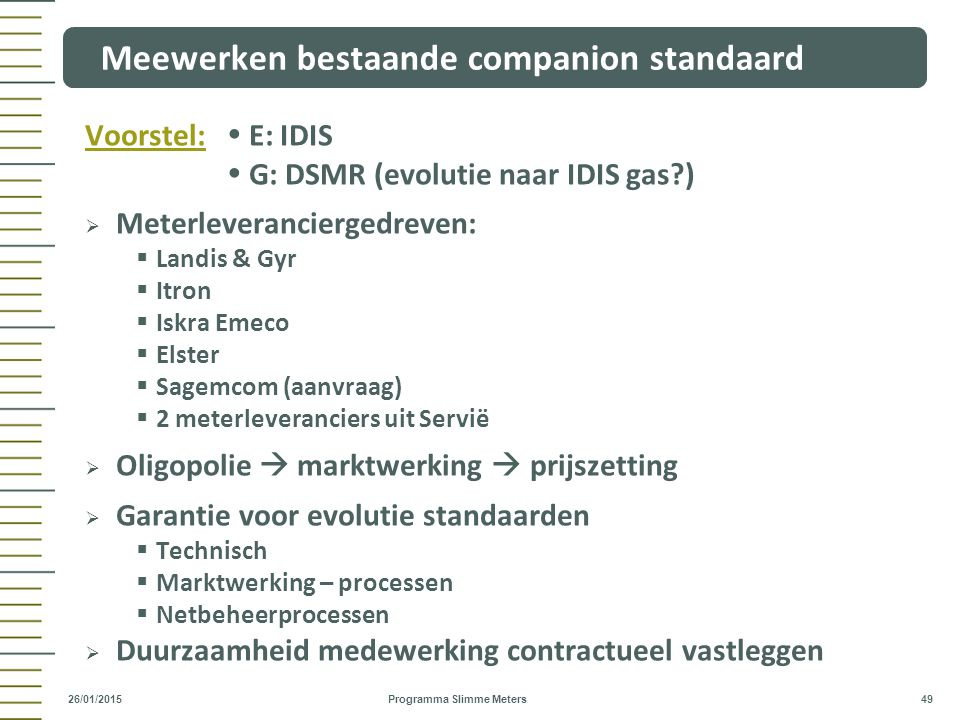 Meewerken bestaande companion standaard