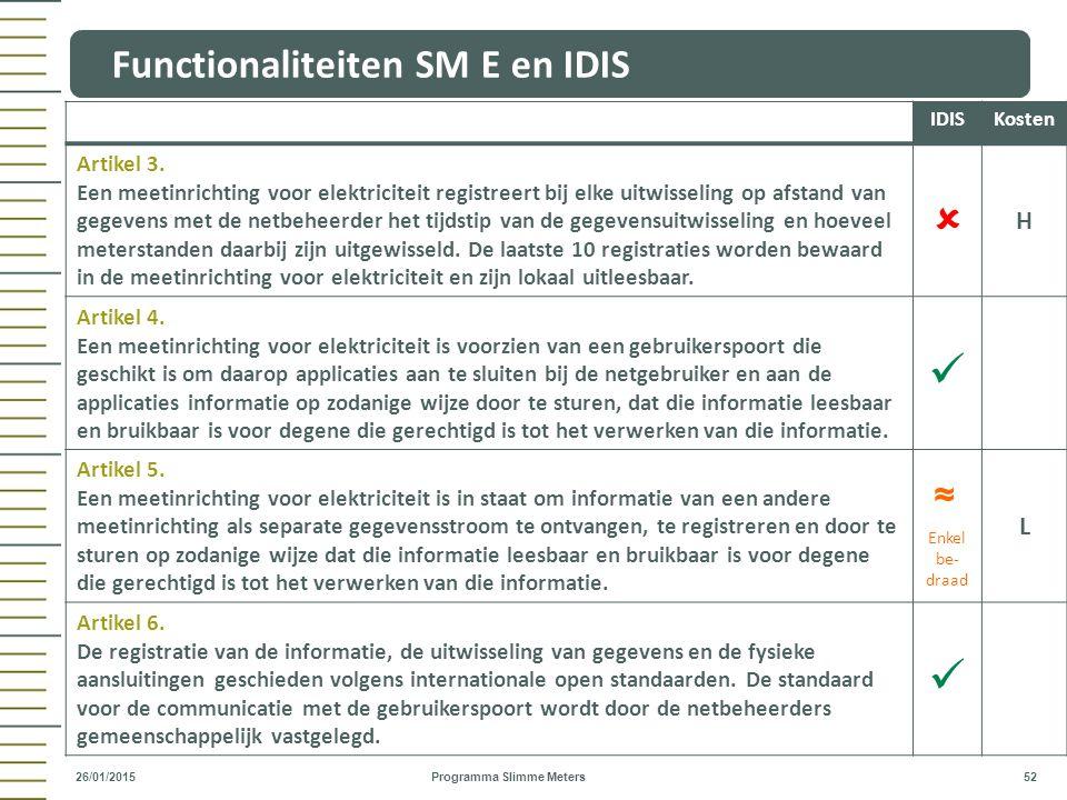 Functionaliteiten SM E en IDIS