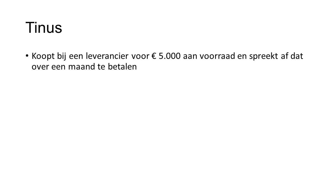 Tinus Koopt bij een leverancier voor € 5.000 aan voorraad en spreekt af dat over een maand te betalen.