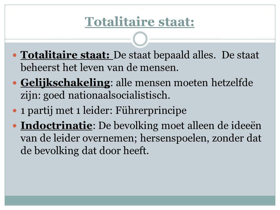 Totalitaire staat: Totalitaire staat: De staat bepaald alles. De staat beheerst het leven van de mensen.