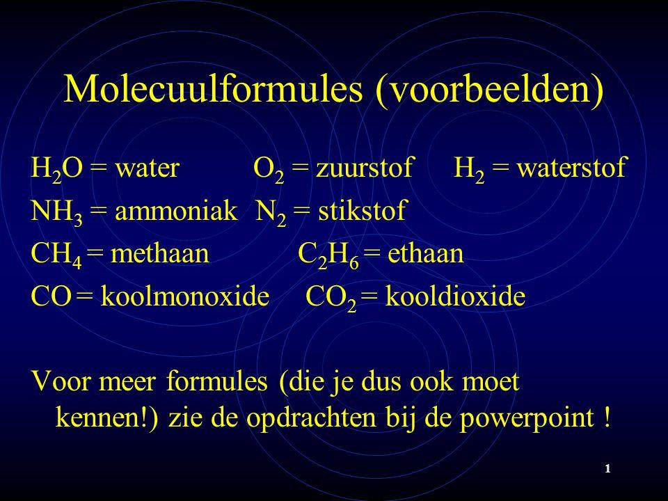 Molecuulformules (voorbeelden)