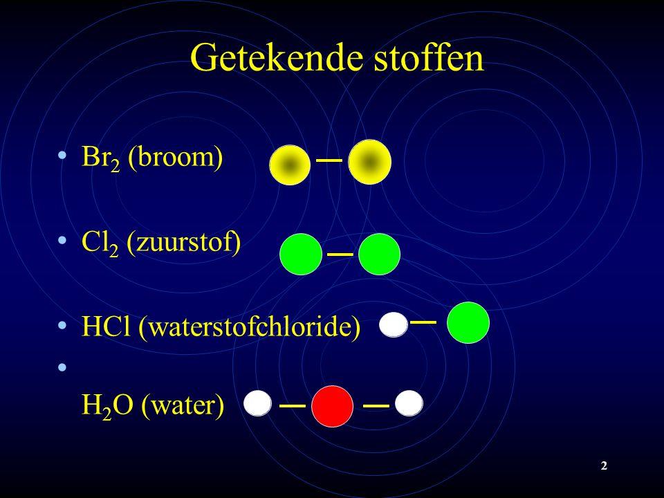 Getekende stoffen Br2 (broom) Cl2 (zuurstof) HCl (waterstofchloride)