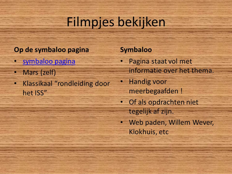 Filmpjes bekijken Op de symbaloo pagina Symbaloo symbaloo pagina