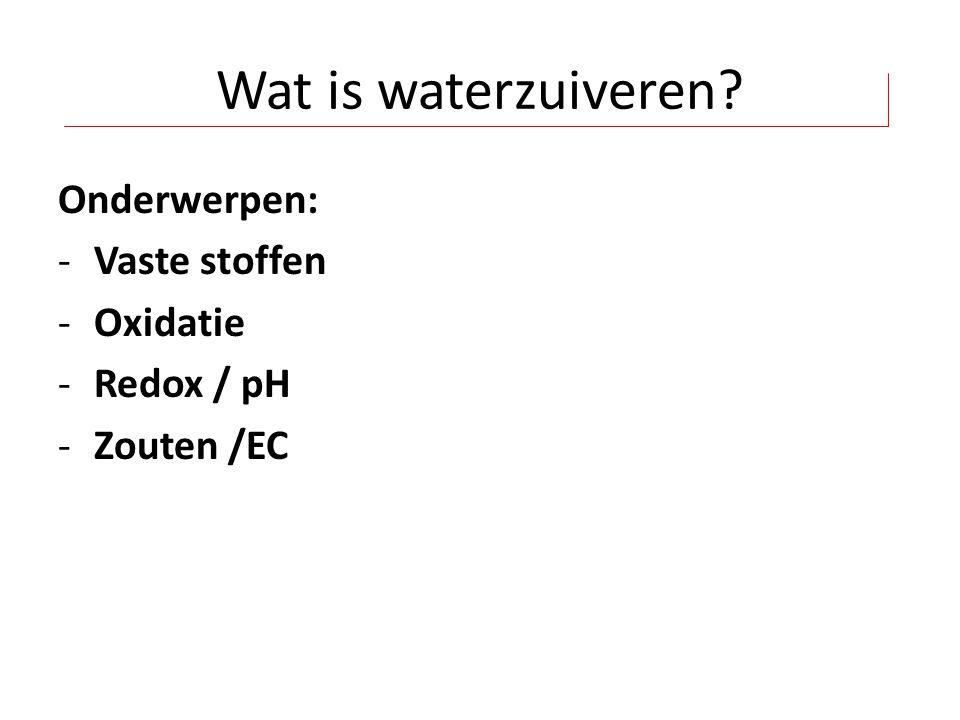 Wat is waterzuiveren Onderwerpen: Vaste stoffen Oxidatie Redox / pH