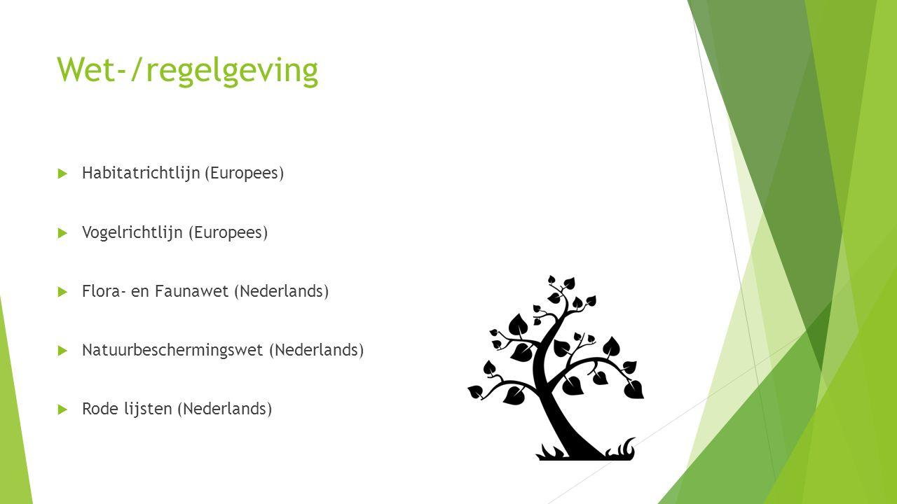 Wet-/regelgeving Habitatrichtlijn (Europees) Vogelrichtlijn (Europees)