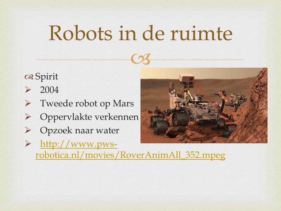Robots in de ruimte Spirit 2004 Tweede robot op Mars