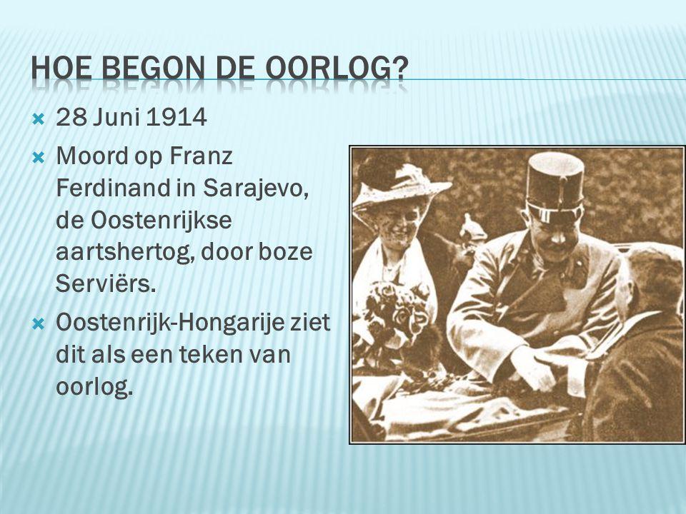 Hoe begon de oorlog 28 Juni 1914