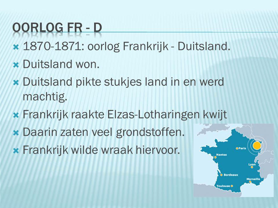 Oorlog Fr - D 1870-1871: oorlog Frankrijk - Duitsland. Duitsland won.