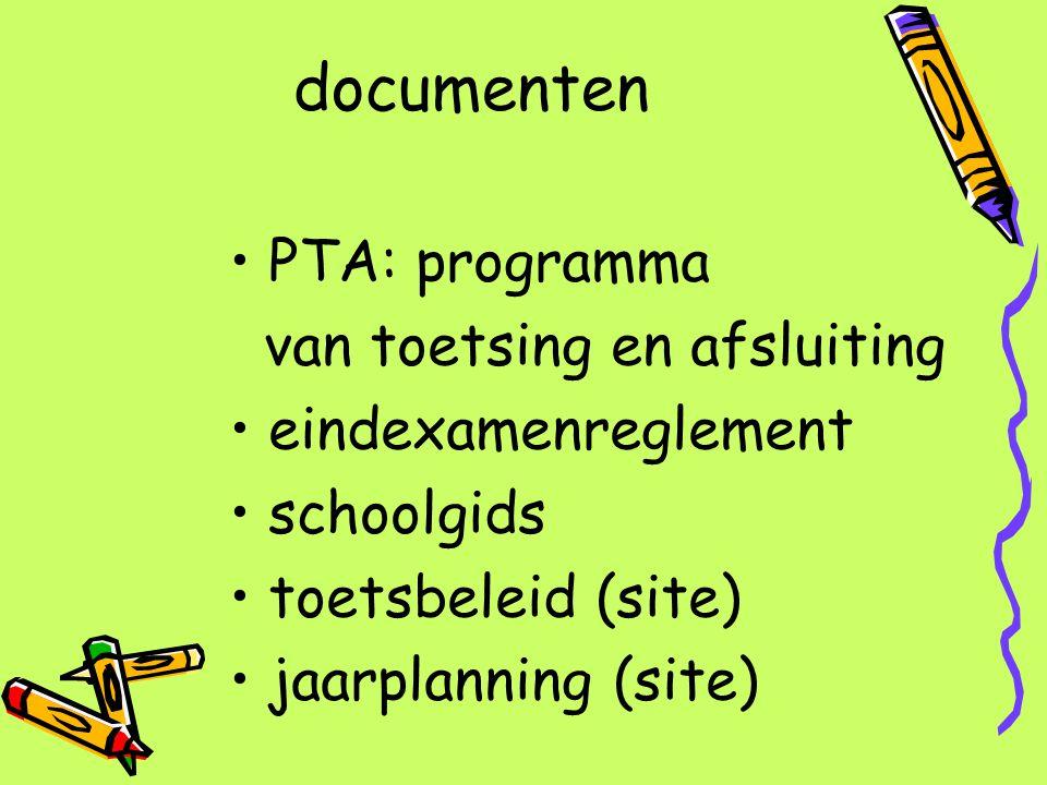 documenten PTA: programma van toetsing en afsluiting