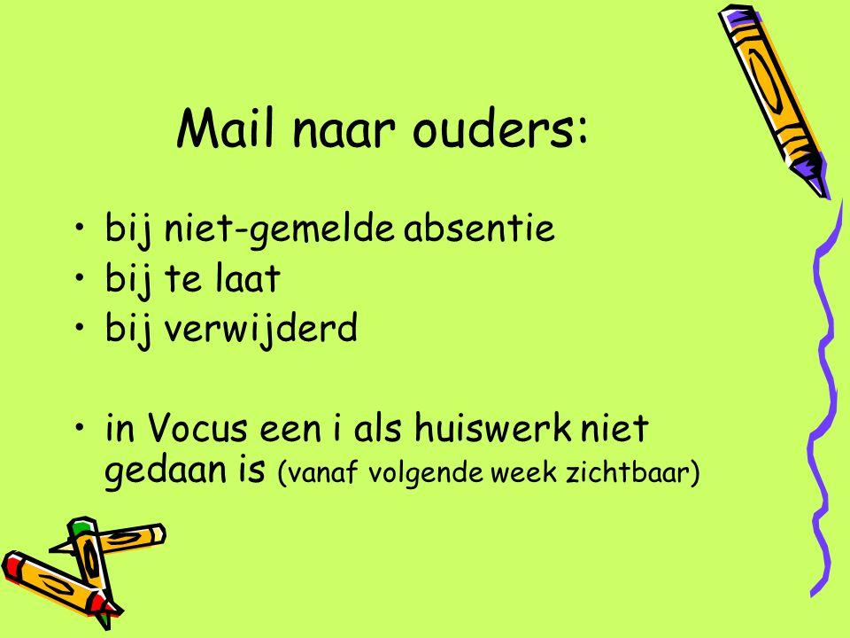 Mail naar ouders: bij niet-gemelde absentie bij te laat bij verwijderd