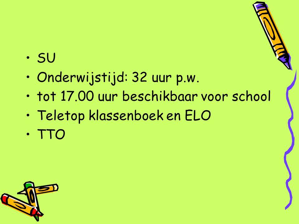 SU Onderwijstijd: 32 uur p.w. tot 17.00 uur beschikbaar voor school Teletop klassenboek en ELO TTO