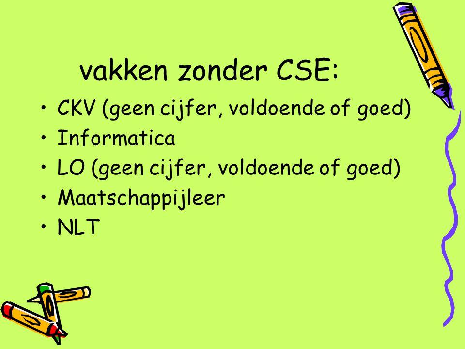vakken zonder CSE: CKV (geen cijfer, voldoende of goed) Informatica