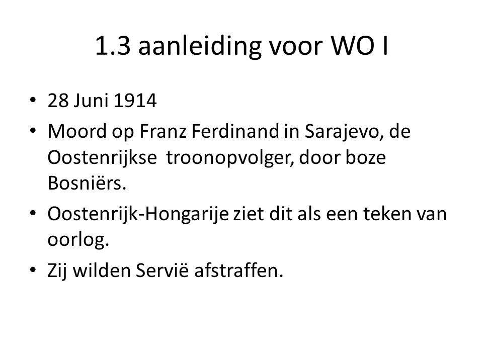 1.3 aanleiding voor WO I 28 Juni 1914