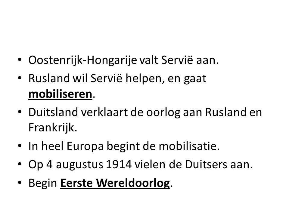 Oostenrijk-Hongarije valt Servië aan.