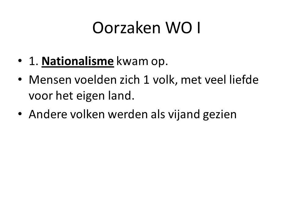 Oorzaken WO I 1. Nationalisme kwam op.